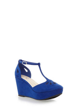 Platform Wedges with T-Straps and Laser Cutouts,BLUE,medium
