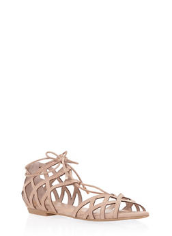 Open Toe Cage Sandals with Ankle Ties - 1110004067427