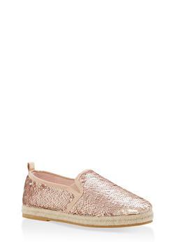 Reversible Sequin Espadrille Slip On Flats - ROSE GOLD SEQUIN - 1110004067486