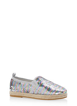 Reversible Sequin Espadrille Slip On Flats - 1110004067486