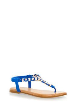 Metallic Beaded Trim T-Strap Slingback Thong Sandals,BLUE,medium