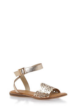 Faux Leather Sandals with Lasercut Strap - 1110004067831
