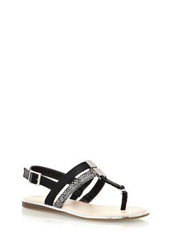 Metallic Embellished Solid Double T-Strap Sandal - 1110004067844