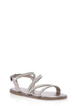 Strappy Rhinestone Flat Sandals - 1110004067853