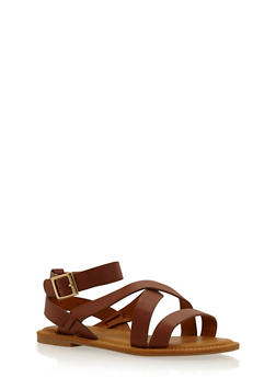Faux Leather Strappy Sandals with Ankle Straps - 1110004068328