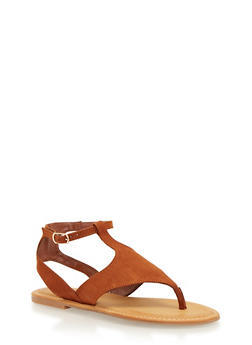 Faux Suede Sandals with Lace Up Ankle Ties - 1110004068332