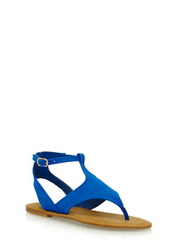 Faux Suede Thong Sandals with Buckle - 1110004068332