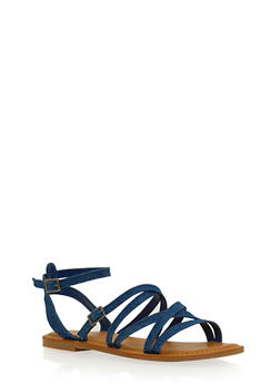 Strappy Sandals with Ankle Straps - 1110004068333
