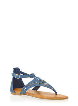 Thong Sandals with Studded Cutouts - 1110004068336