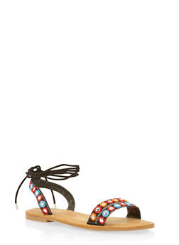 Embroidered Sandals with Ankle Ties - 1110004068337