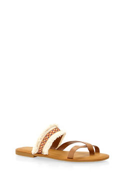 Sandals with Frayed Strap - BEIGE - 1110004068339