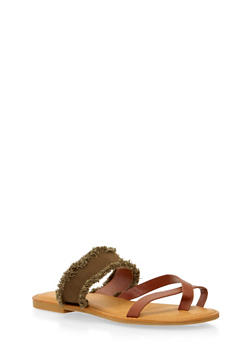 Sandals with Frayed Strap - OLIVE - 1110004068339