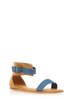 Ankle Strap Sandals with Buckle - 1110004068376