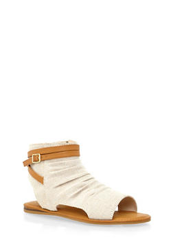 Ruched Open Toe Sandals with Cutouts - 1110004068380