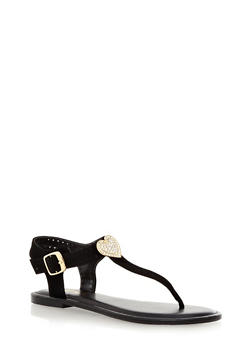 Rhinestone Heart Perforated Glitter T-Strap Sandals - 1110004068478