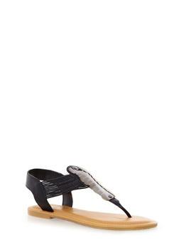 Corded Metallic T-Strap Sandals,BLACK,medium