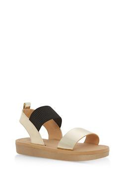 Double Strap Sling Back Platform Sandals - GOLD PATENT - 1110004068770