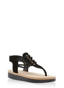 Stretch Cord Platform Thong Sandals - 1110004068773