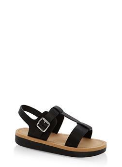 Double Band T Strap Platform Sandals - BLACK CRP - 1110004068776
