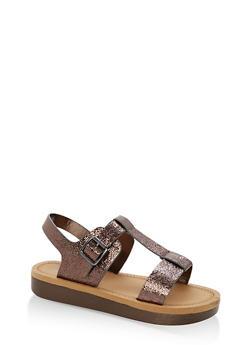 Double Band T Strap Platform Sandals - PEWTER CMF - 1110004068776
