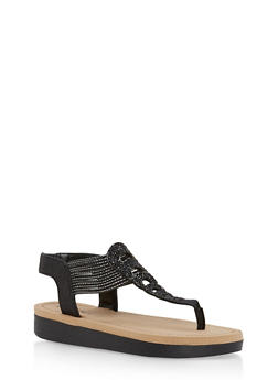Rhinestone Studded Platform Thong Sandals - 1110004068777
