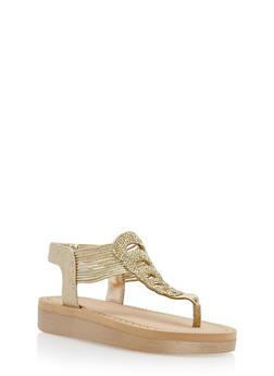 Rhinestone Studded Platform Thong Sandals - GOLD GLITTER - 1110004068777