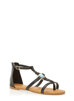 Ankle Gladiator Sandals with Aqua Stone - 1110004069695