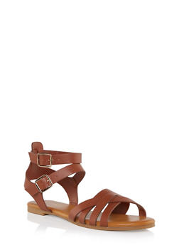 Criss Cross Strap Sandal with Two Buckles - 1110004069696