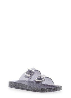 Glitter Double Banded Slides - SMOKE - 1110014062526