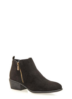 Ankle Boots with Zipper Trim - BLACK F/S - 1110014067234