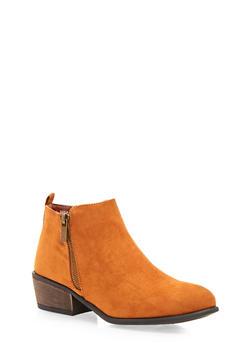 Ankle Boots with Zipper Trim - COGNAC F/S - 1110014067234