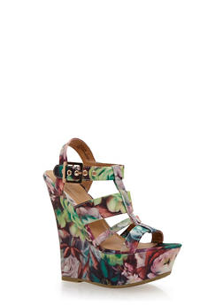 Caged Wedge Platform Heels with Floral Print - 1110014067599