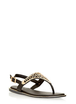 Slingback Metal Embellished Thong Sandals - 1110014067835
