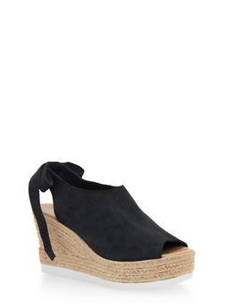 Leather Peep Toe Tie Back Espadrille Wedges - 1110022656455