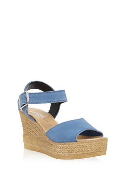 Leather Espadrille Wedge Sandals with Buckled Ankle Strap - 1110022656462