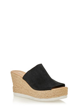 Leather Wedge Slide Sandals - 1110022656466