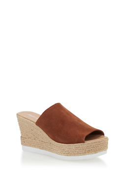 Leather Wedge Slide Sandals - COGNAC SUEDE - 1110022656466