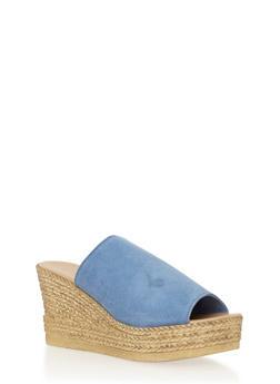 Leather Wedge Slide Sandals - BLUE SUEDE - 1110022656466