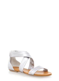 Criss Cross Strap Sandals with Closed Back - 1110027615737