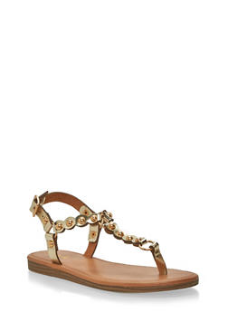 Studded Faux Leather Thong Sandals - 1110029912529