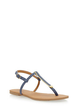 Faux Leather Metallic T Strap Sandals - 1110029912730