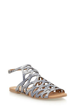 Open Toe Laser Cut Sandals - 1110029912735