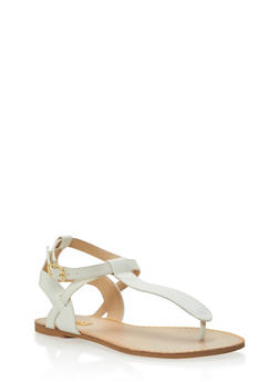 Faux Snake Skin Strap Thong Sandals - 1110029912739