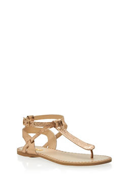 Faux Snake Skin Strap Thong Sandals - 1110029912739