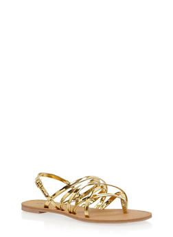 Strappy Thong Sandals - 1110029912853