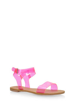 Transparent Ankle Wrap Sandals - 1110029912855