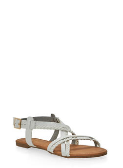 Cross Strap Sandals with Braided Details - 1110029915266