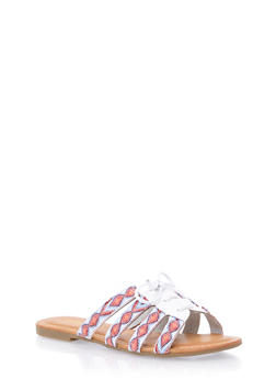 Lace Up Slide Sandals - WHITE - 1110056637606