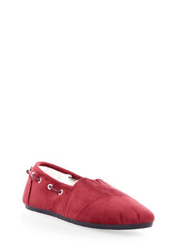 Drawstring Loafers With Faux Fur Lined Interior,BURGUNDY,medium