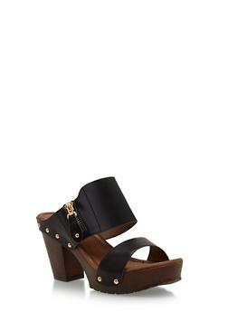 Studded Faux Leather Heeled Slides - 1110057198469